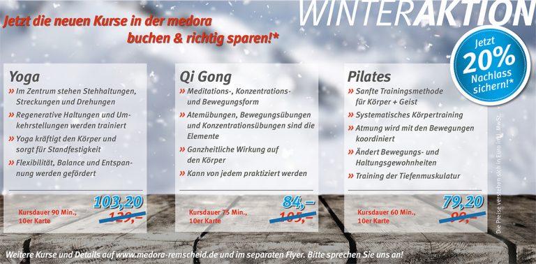Winteraktion 2017 – Yoga, Qi-Gong & Pilates Kurse 20% reduziert